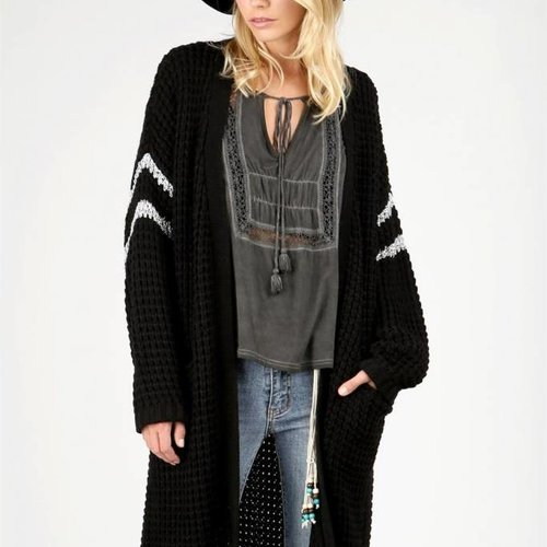 POL Clothing Oversized Open Front Cardigan in Black