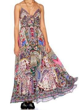 Camilla Long Dress w/ Tie Front in KALBELIA QUEEN