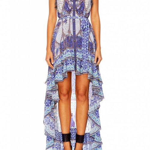 Camilla High Low Button Down Dress in Wings To Fly