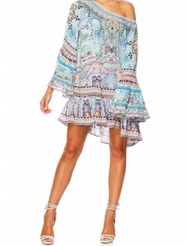 Camilla A Line Frill Dress in Lovers Retreat