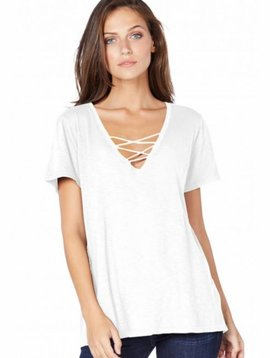 Michael Stars S/S V-Neck Lace Up