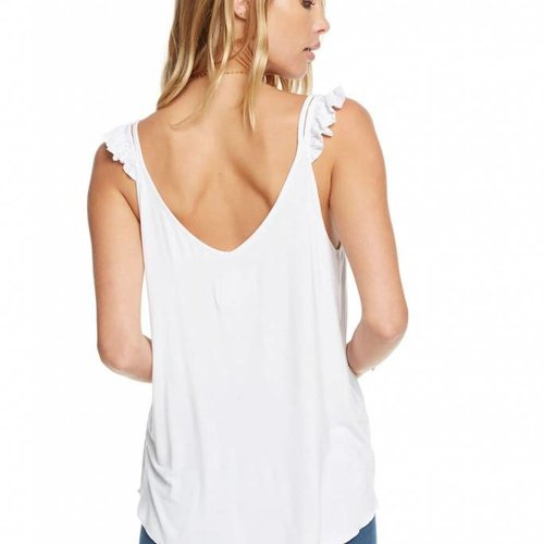 Chaser Jersey Ruffle Strap Double V Cami