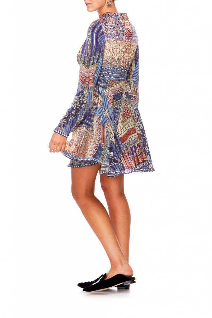 Camilla Short Peasant Dress in Overnight Bag