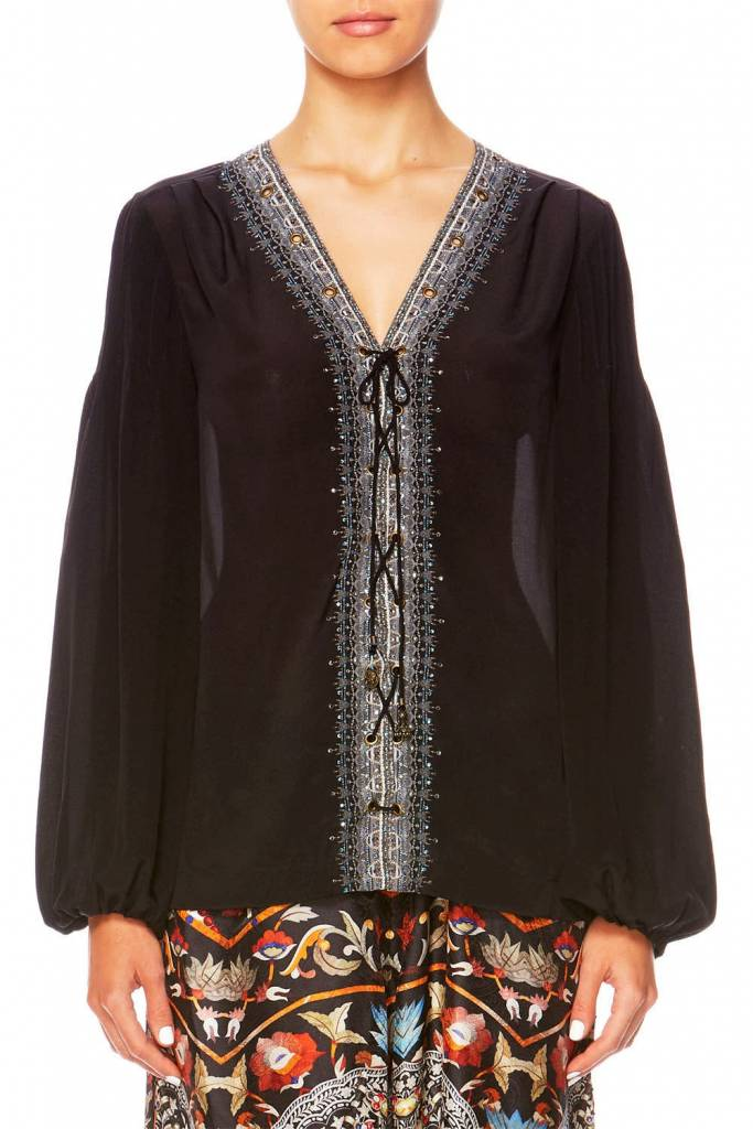 Camilla Peasant Blouse W Front Lacing in Chamber of Reflections