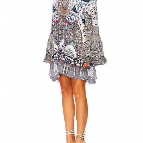 Camilla A Line Frill Dress in the Print In The Constellations