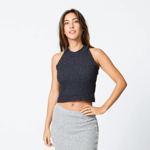 Monrow Rib Halter Tank in EVERGREEN