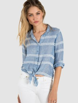Bella Dahl Tie Front Button Down-Forever Blue
