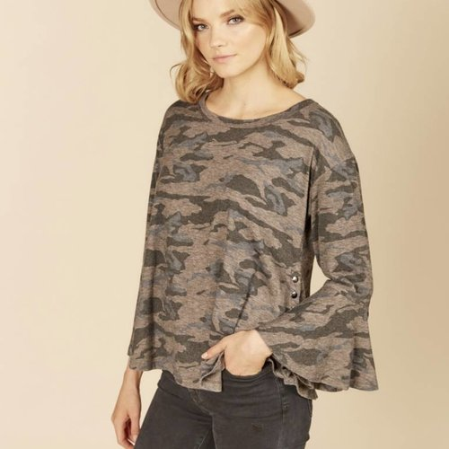 Grey Camo Side Snap Top