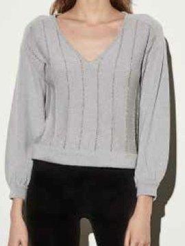 ROI Lurex Stripe V Neck Sweater