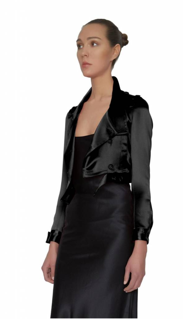 Maison de Papillon Nova Silk Cropped Trench