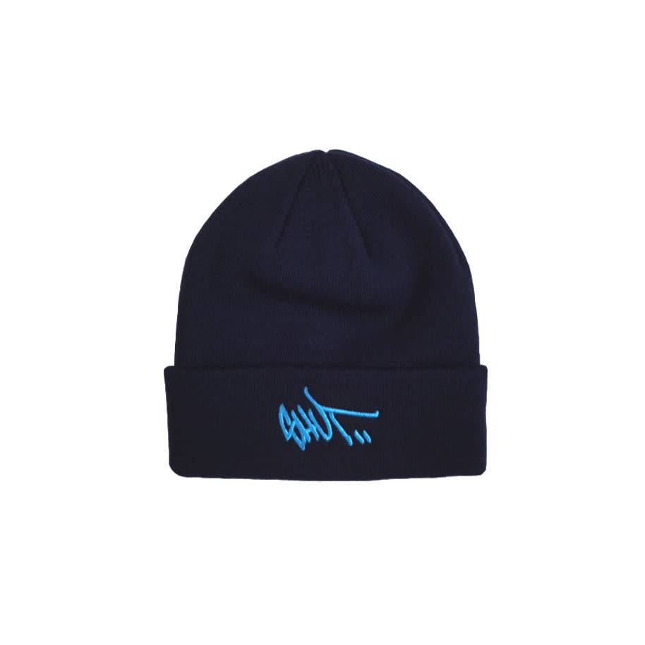 STASH x SHUT Tag Beanie Navy