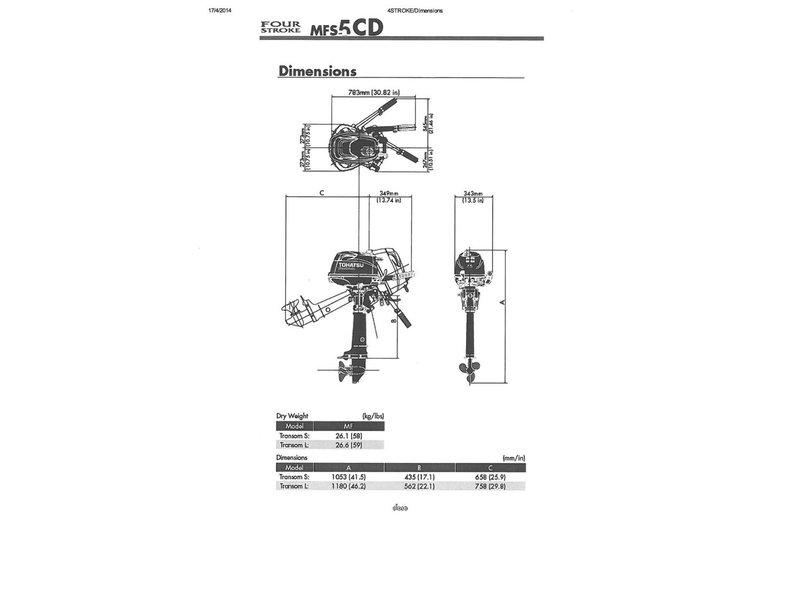 Tohatsu 5 HP Outboard Motor