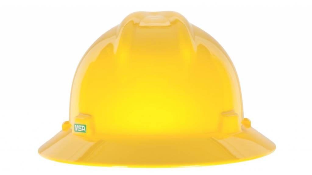 MSA Safety V Gard Hard  Hat  W/Rachet Suspension, Yellow