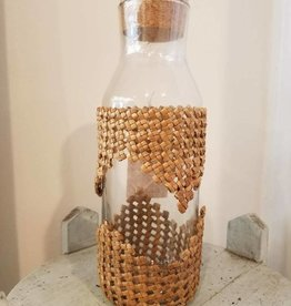 Handwoven Lauhala Glass Bottle