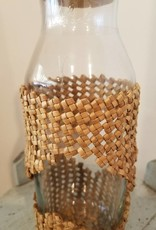 Handwoven Lauhala Glass Bottle