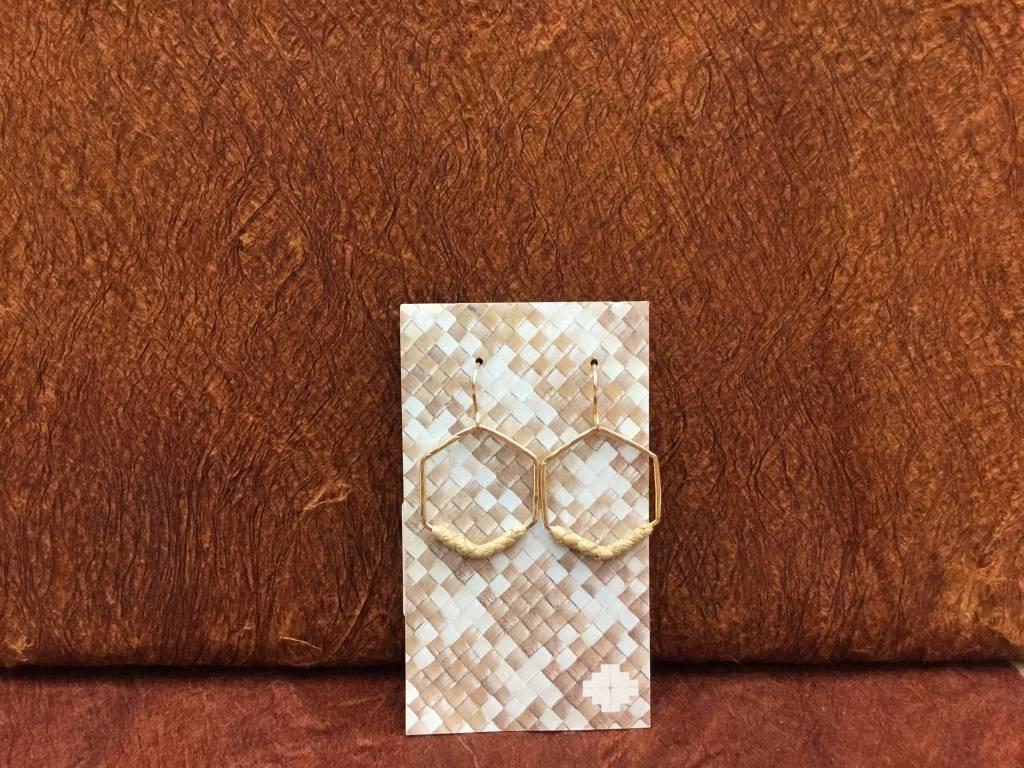 14KGF HŌKŪ Lauhala Earrings