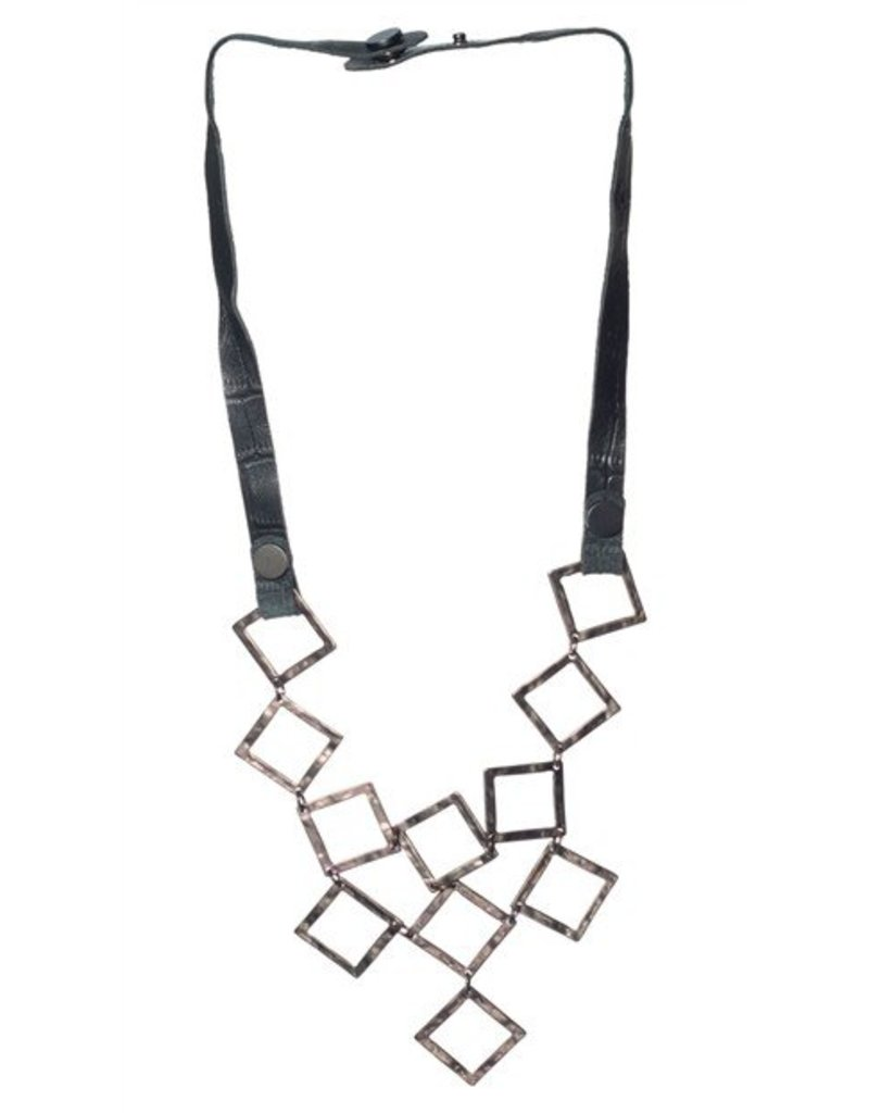 Sweet Lola Necklace, Black leather w/linked squares