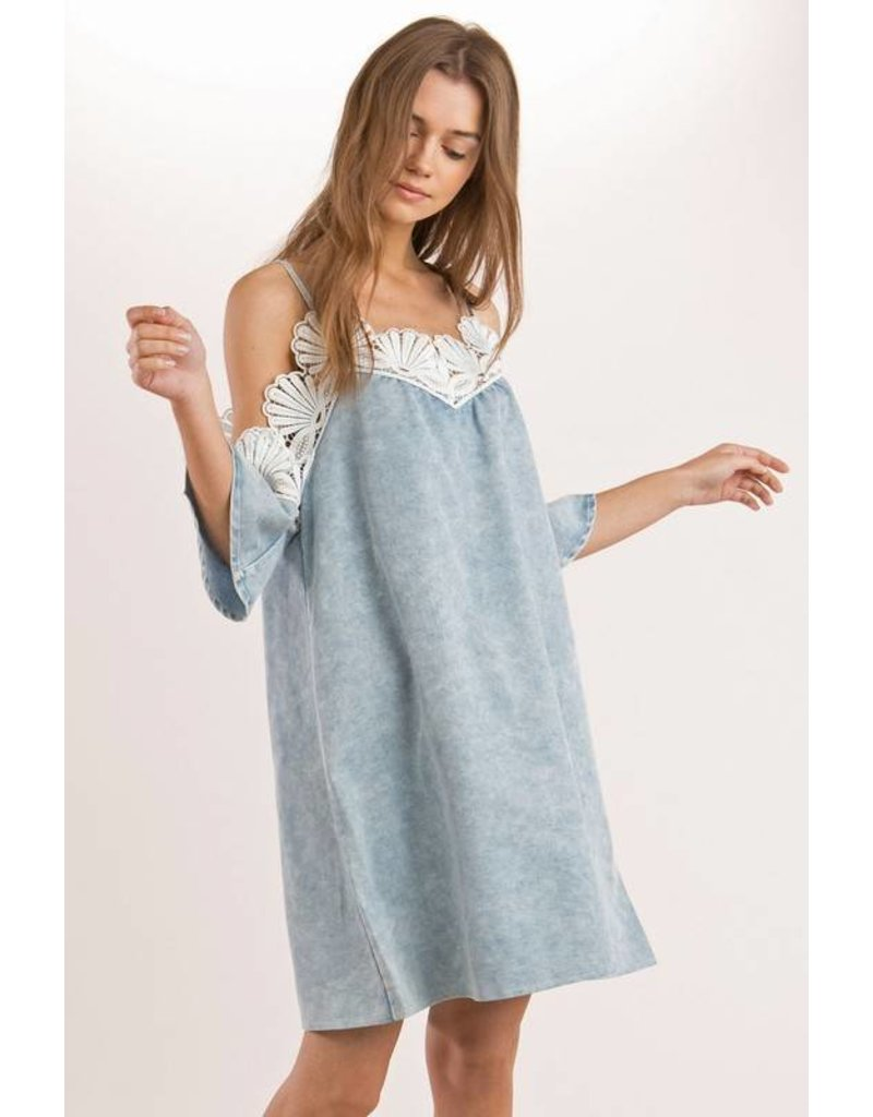 Pol Crochet Off Shoulder Denim Dress