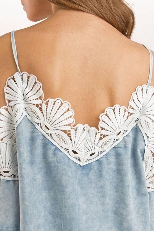 Pol Crochet Off Shoulder Denim Dress