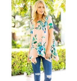 Sweet Pea Floral Asymmetrical hem Tunic