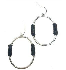 Sweet Lola Earrings, Silver Hoop w/Brown Leather