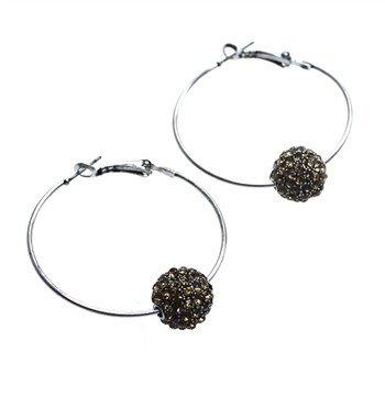 Sweet Lola Earrings, Hoops w/topaz ball