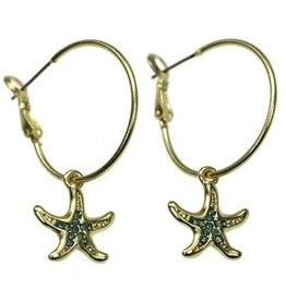 Sweet Lola Earrings, Hoops w/Opal Starfish
