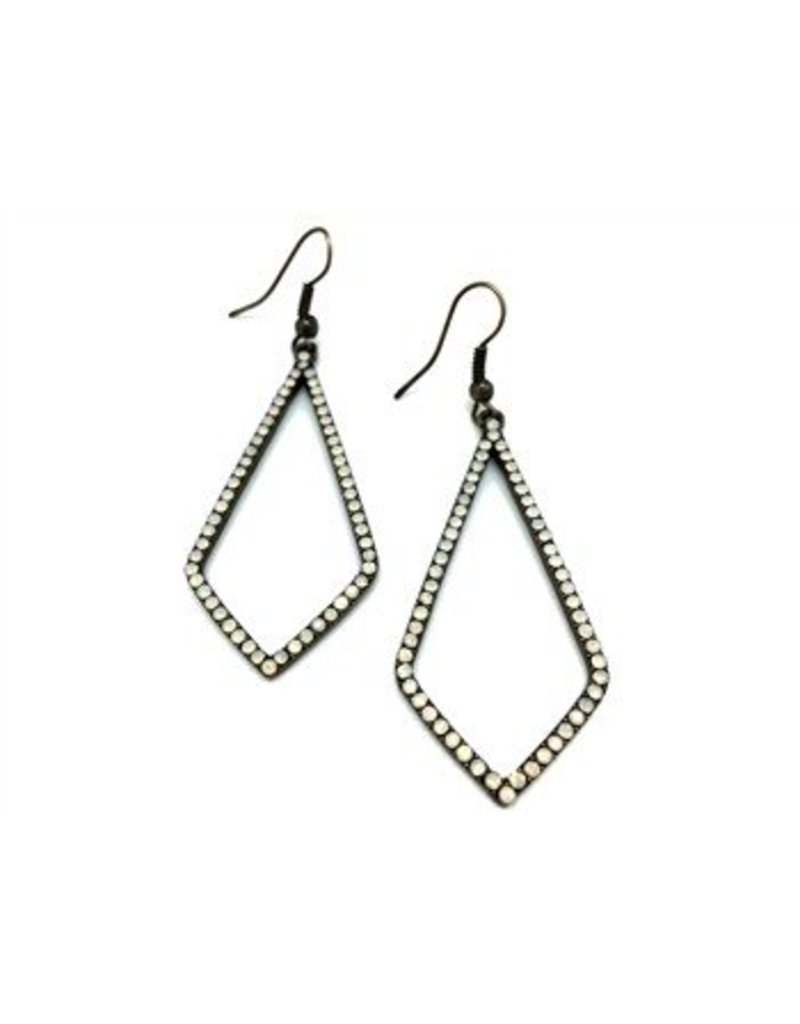 Sweet Lola Earrings, Diamond shaped w/milky opals