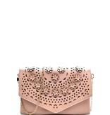 Flower Embellished Clutch w/chain strap