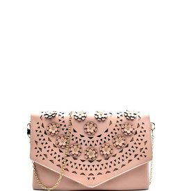 Flower Embellished Clutch w/chain strap