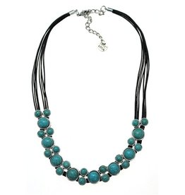 Necklace, Turquoise w/brown leather