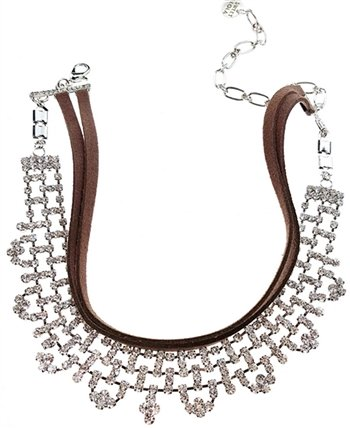 Necklace, Choker w/brown leather