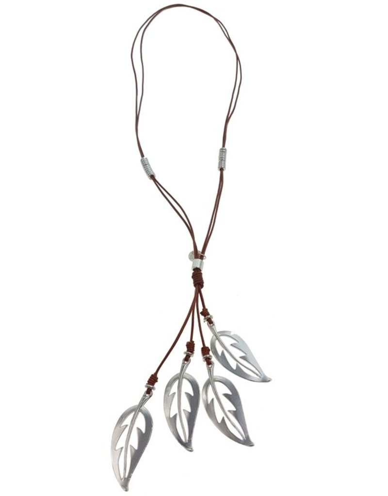 Necklace, Tan leather w/silver leaves