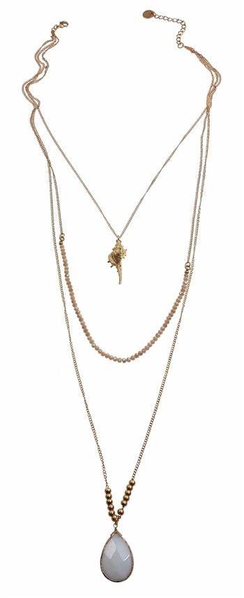 Necklace, Gold chain w/teardrop opal