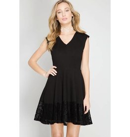 She & Sky Black Sleeveless dress w/detailed hem