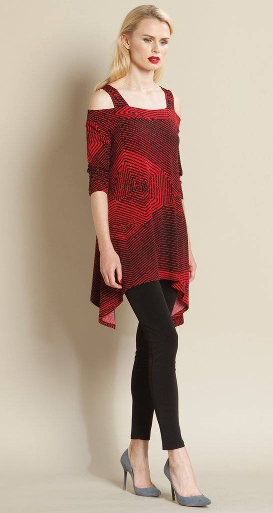 Clara Sun Woo Red Diamond Print Tunic