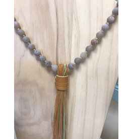 Southern Beads Co Natural Stone Bead Necklace with Leather Tassel