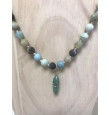 Southern Beads Co Natural Stone Bead Necklace with Stone Pendant