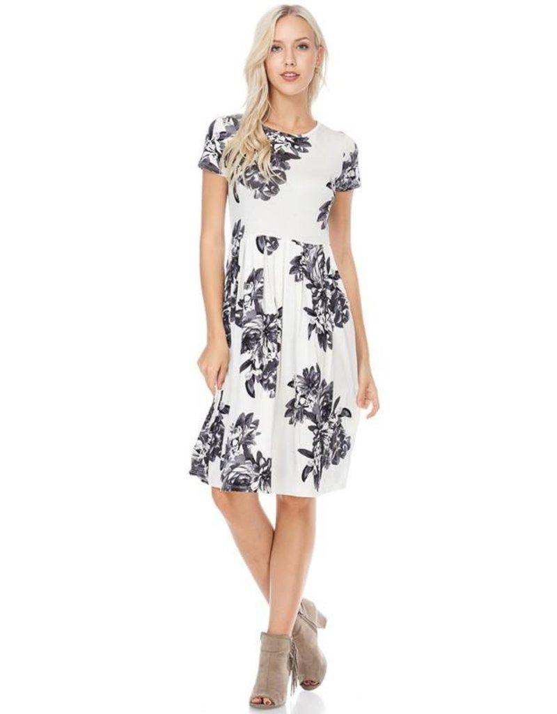 ReBorn Ivory/Gray Floral Dress
