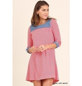 Umgee Coral Striped Dress