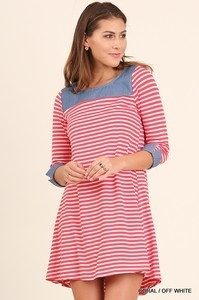 Umgee Coral Striped Dress