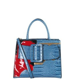 Blue and Red Buckle Handbag