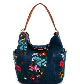 Denium Embroided Handbag
