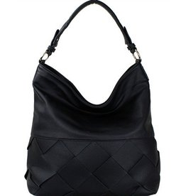 Large Black Lattice Handbag