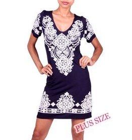 Lovely J Navy Embroidered Dress