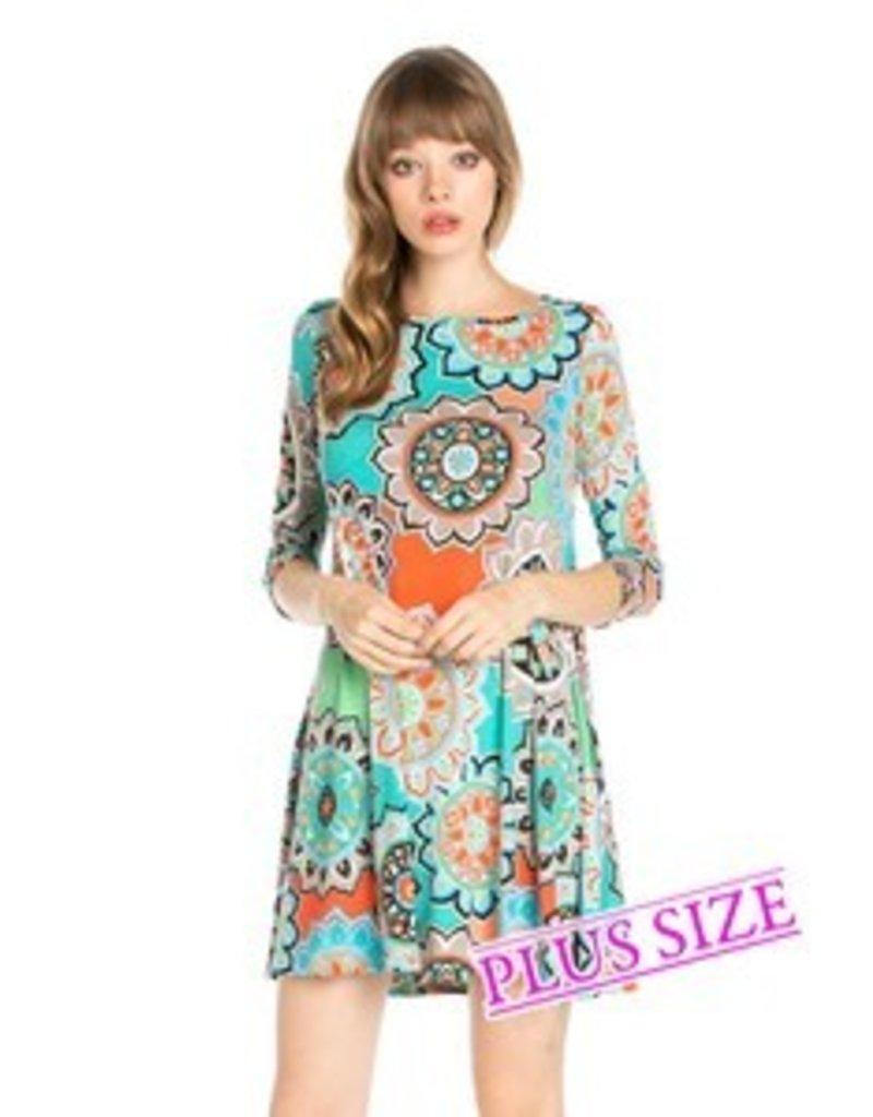 Cezanne Mint Print Dress