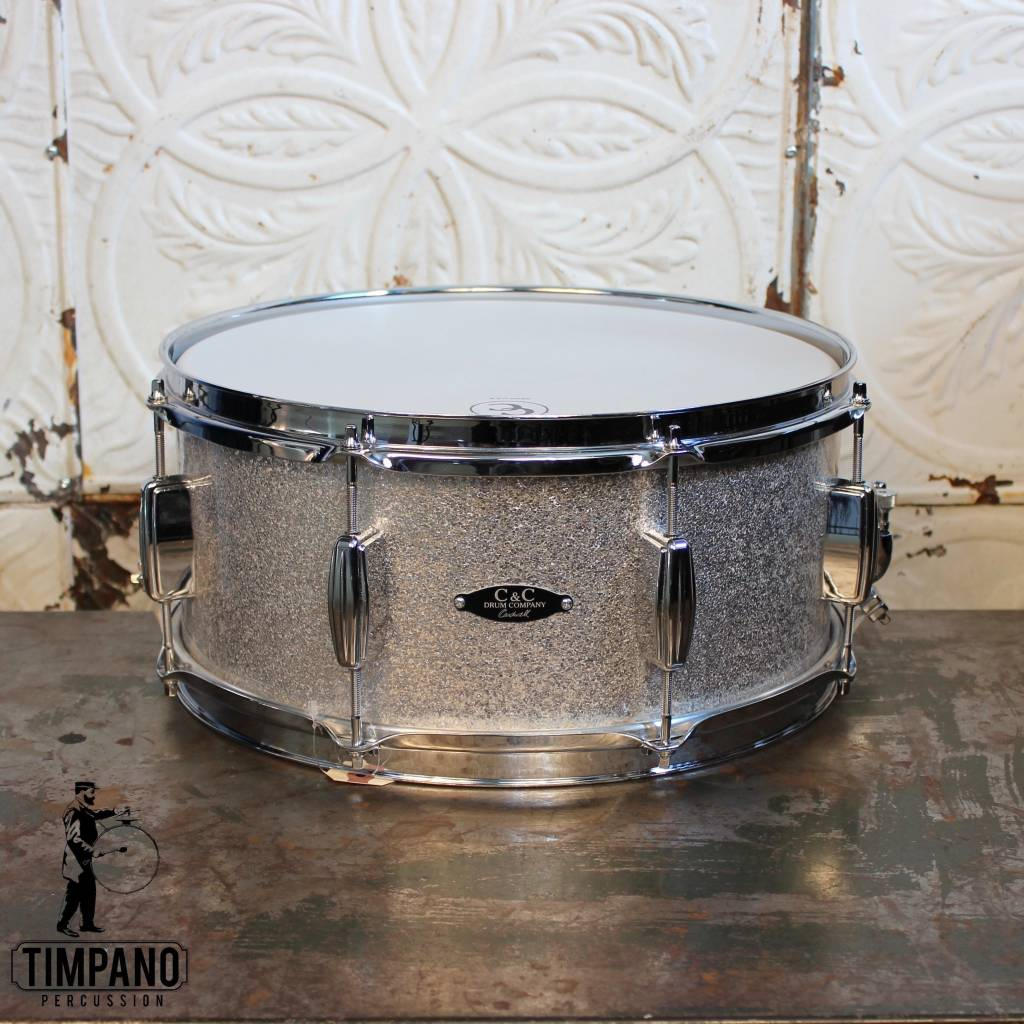 C&C Drum Company C&C Player Date II Snare Drum in Silver Sparkle 14X6.5in