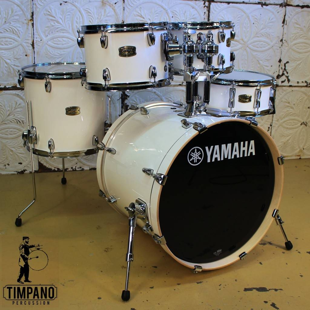 yamaha stage custom. yamaha stage custom pure white 20-10-12-14in + 14in snare and tom mount - timpano-percussion