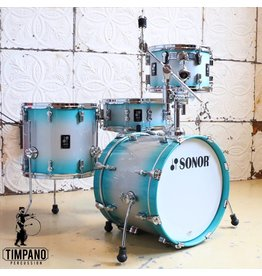 "Sonor Sonor AQ2 Bop Aqua Silver Burst Drum Kit 18-12-14"" + 14"" snare with cymbal/tom holder"