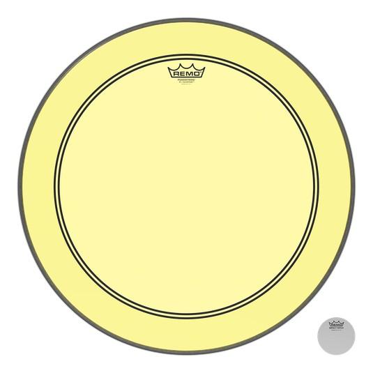 Remo Peau Powerstroke P3 Colortone Jaune Bass 24po 5po Offset Hole